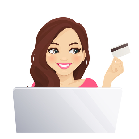 Young woman holding credit card and using laptop computer. Online shopping vector illustration isolated