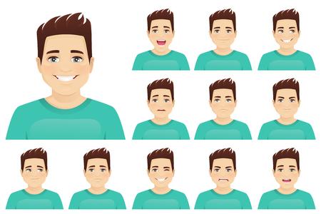 Junger Mann mit verschiedenen Gesichtsausdrücken stellte Vektorillustration lokalisiert ein