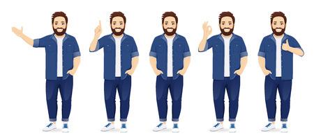 Hombre grande guapo en ropa casual de pie en diferentes poses conjunto aislado ilustración vectorial