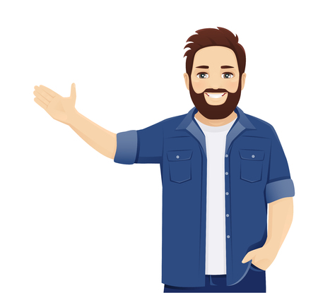 Handsome big man in casual clothes presenting something isolated vector illustration
