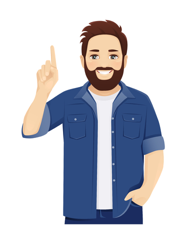 Handsome big man in casual clothes pointing up isolated vector illustration Ilustração
