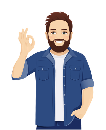 Handsome big man in casual clothes gesturing ok sign isolated vector illustration
