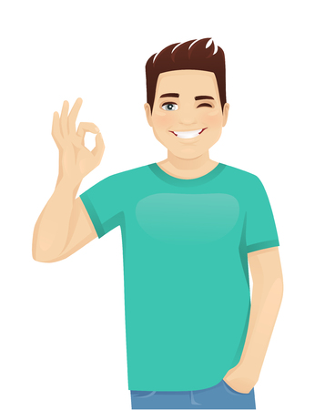 Young man in casual clothes gesturing ok sign isolated vector illustration