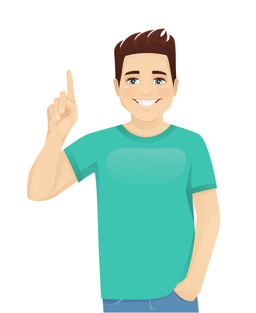 Young man in casual clothes pointing up isolated vector illustration