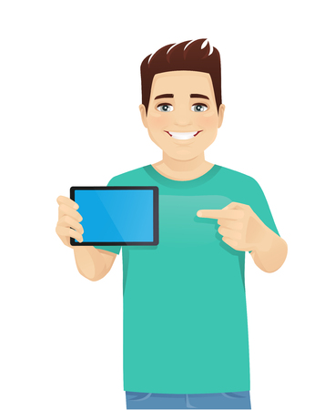 Young man in casual clothes holding tablet witn blank screen isolated vector illustration Ilustrace