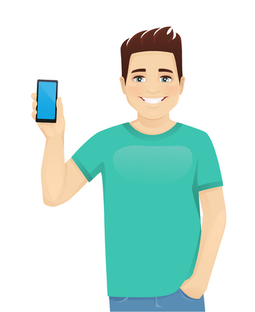 Young man in casual clothes holding phone witn blank screen isolated vector illustration