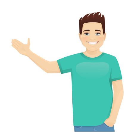 Young man in casual clothes presenting something isolated vector illustration