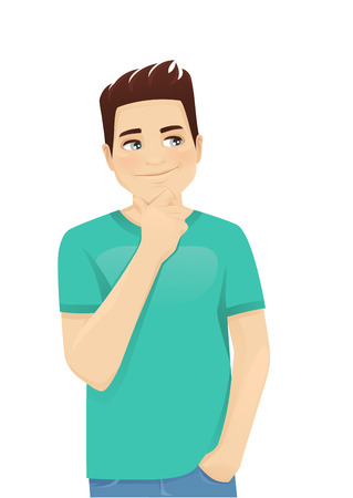 Young man in casual clothes thinking isolated vector illustration