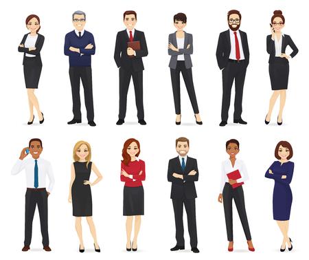 Ludzie biznesu, pracownicy biurowi zestaw ilustracji wektorowych na białym tle