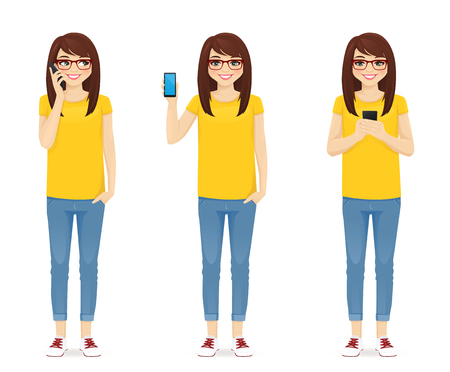 Woman in jeans with phone isolated vector illustration Ilustração
