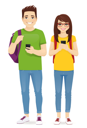 Young people with gadgets and backpacks. Students use mobile phones vector illustration isolated Illusztráció