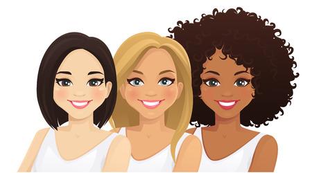 Donne multietniche. Tre diversi volti femminili. Illustrazione vettoriale isolata asiatica, africana e caucasica