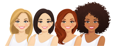 Multiethnic women, different female faces isolated vector illustration