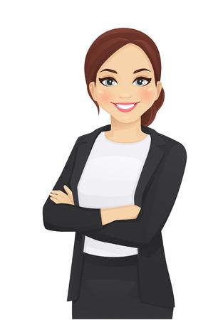 Ritratto di donna d'affari elegante con le braccia incrociate illustrazione vettoriale isolato