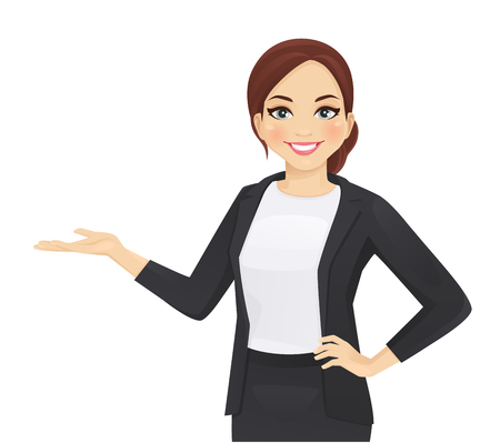 Elegant business woman in black dress showing isolated vector illustration