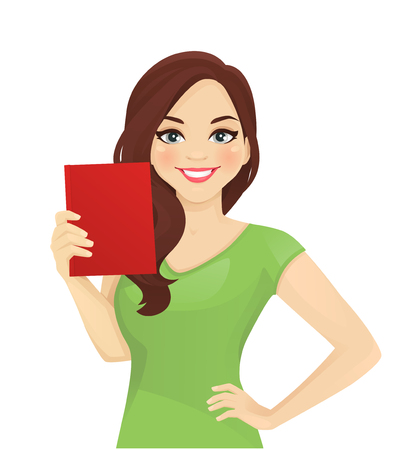 Smiling beatiful woman with curly hairstyle holding book isolated vector illustration