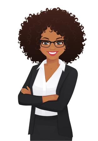Ritratto di donna d'affari elegante con le braccia incrociate illustrazione vettoriale isolato Vettoriali