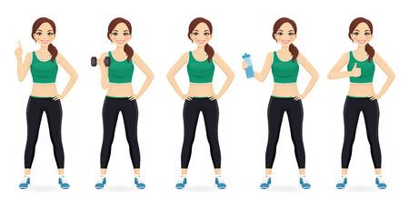 Sport fitness woman in sportswear set isolated vector illustration Ilustração