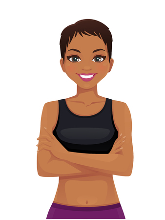 Beautiful sport woman portrait with crossed arms isolated vector illustration Ilustração