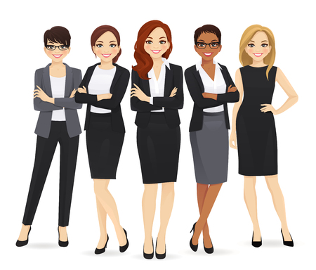 Business woman team set with leader isolated vector illustration