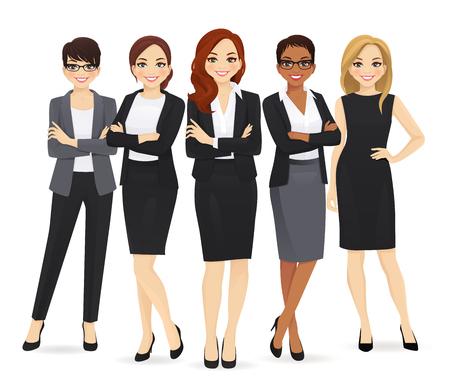 Geschäftsfrau-Team stellte mit Führer lokalisierte Vektorillustration ein
