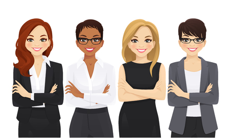 Business woman team set with arms crossed isolated vector illustration Ilustração