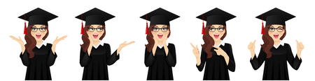 Surprised excited student girl with hat of graduation on head collection isolated vector illustration
