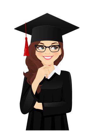 Denkendes Studentenmädchen, das mit Hut des Abschlusses auf dem Kopf wegschaut, lokalisierte Vektorillustration
