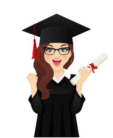 Surprised excited student girl with hat of graduation on head and diploma in hand isolated vector illustration Ilustração