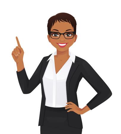 Femme souriante pointant vers le haut illustration vectorielle isolé