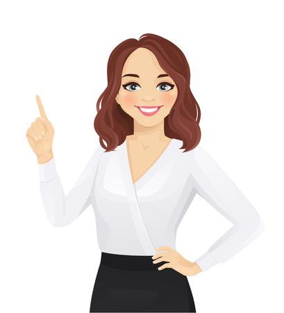 Glimlachende vrouw die op geïsoleerde vectorillustratie wijst