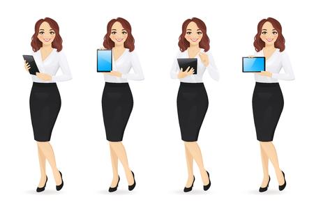 Mujer de negocios en diferentes poses con ilustración de vector aislado conjunto de tableta. Usando, sosteniendo, escribiendo, mostrando la pantalla en blanco