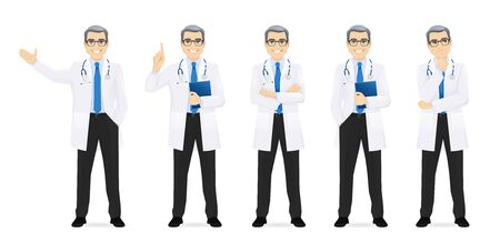 Male doctor set in different poses isolated vector illustration