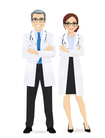 Male and female doctor isolated. Man and woman profession characters vector illustration
