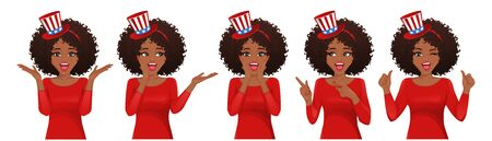 Surprised woman in 4th july headband collection isolated vector illustration