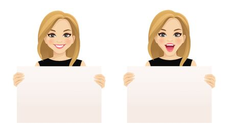 Beautiful smiling excited woman holding empty blank board isolated vector illustration Banque d'images - 131491355