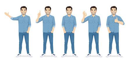 Gut aussehender Mann in Freizeitkleidung, der in verschiedenen Posen steht, stellte isolierte Vektorillustration ein Vektorgrafik