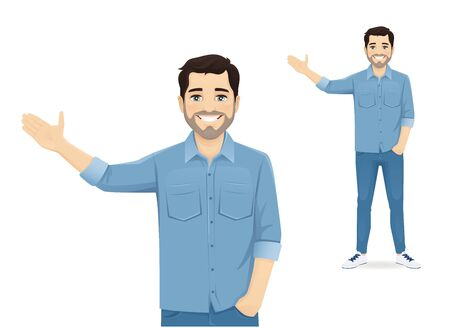 Handsome man in casual clothes presenting something isolated vector illustration
