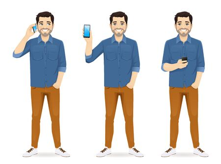 Man in casual outfit with phone isolated vector illustration