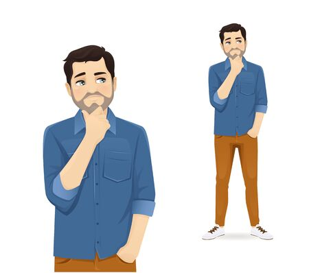 Man in casual clothes thinking isolated vector illustration