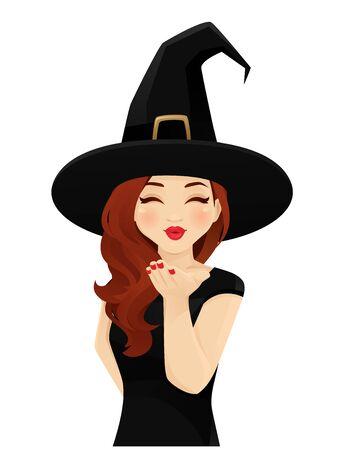 La donna di Halloween in costume da strega che soffia bacio magico ha isolato l'illustrazione vettoriale