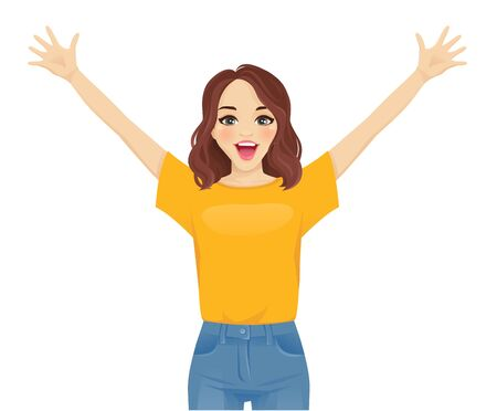 Surprised excited cute young woman in jeans isolated vector illustration 일러스트