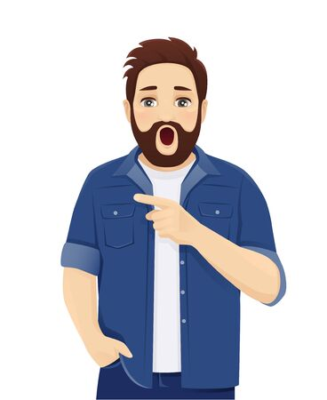Surprised shocked big man expression in casual clothes points to something isolated vector illustration Illustration