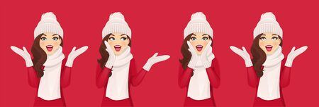 Surprised beautiful woman in knitted hat with warm scarf and mittens set on red background vector illustration Ilustracja