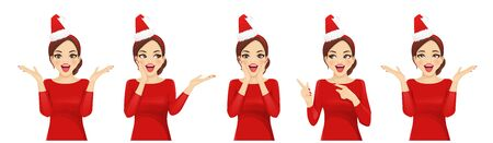 Surprised christmas woman in santa hat headband vector illustration isolated Banque d'images - 131491397