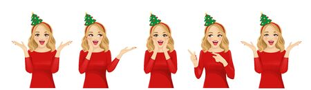 Surprised beautiful woman in christmas tree headband vector illustration isolated 일러스트