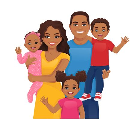 Parents with newborn baby, toddler boy and girl vector illustration isolated. Happy african family portrait. Mother, father, daughter, son.