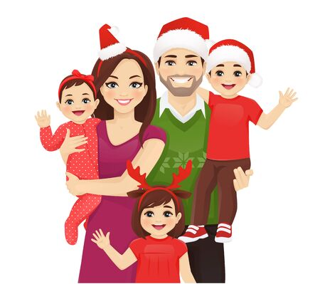 Christmas family portrait. Happy parents with newborn baby girl, toddler boy and girl in santa hats vector illustration isolated. Mother, father, daughter, son.
