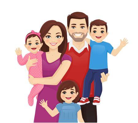 Padres con bebé recién nacido, niño pequeño y niña ilustración vectorial aislada. Retrato de familia feliz. Madre, padre, hija, hijo.