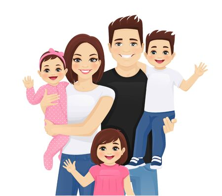 Young parents with newborn baby and toddler boy and girl vector illustration isolated. Happy family portrait. Mother, father, daughter, son. 일러스트